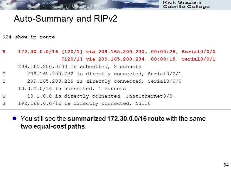 Auto-Summary and RIPv2 R2# show ip route. R 172.30.0.0/16 [120/1] via 209.165.200.230, 00:00:28, Serial0/0/0.